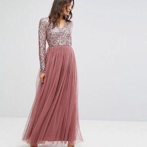 ASOS Maya Maxi Dress Tonal Delicate Sequin Blush
